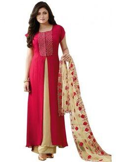 Party Wear  Red Georgette  Anarkali suit  - 1890176
