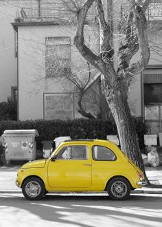 steel poster Street art fiat 500 cinquecento citycar car italian yellow photography iconic transportation traffic street