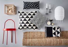 Start from with a neutral base like an IKEA LOHALS rug, then add in monochromatic accessories with bold patterns. Ikea, Monochrome, Lohals, Home Trends, Interior Design, Motifs, Rugs, Comme, Patterns