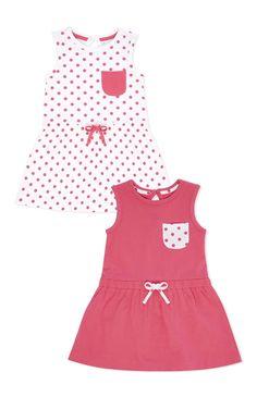 Primark - Pack de 2 vestidos em malha cor de rosa com pintas Frocks For Girls, Little Girl Dresses, Girls Dresses, Toddler Dress, Baby Dress, Toddler Girl, Kids Clothes Patterns, Dress Sewing Patterns, Primark