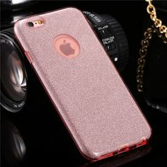 Luxury Glitter Case For Iphone 6 6S / Iphone 6 S Plus Soft TPU + Hard PC Frame Girly Cover With Logo Hole Fundas For iphone6 4.7