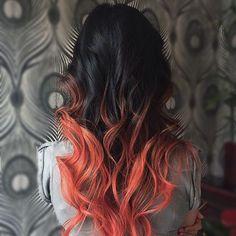 Salmon pink ombré :: RedBloom Salon