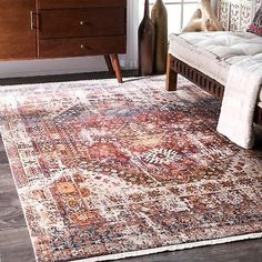 nuLoom Rust (Red) Vintage Faded Olden Tribal Medallion Rug - x Size x Orange Rugs, Red Rugs, Rust Orange, Blue Orange, Rugs Usa, Indoor Rugs, Online Home Decor Stores, Online Shopping, Decoration