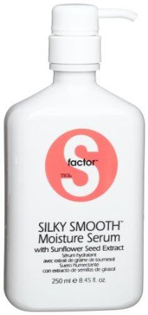 TIGI S Factor Silky Smooth Moisture Serum. My rating: 3/5. This smells really good, like apples to me. It feels nice and seems to work alright. I'm not thoroughly amazed with it though and it tends to break me out on my neck and face where my hair touches my skin. I might revise this rating after trying it in combination with the smoothing lusterizer for styling my hair, as I just remembered it's a heat protectant as well.