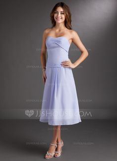 Bridesmaid Dresses - $92.99 - A-Line/Princess Sweetheart Tea-Length Chiffon Bridesmaid Dress With Ruffle (007001760) http://jjshouse.com/A-Line-Princess-Sweetheart-Tea-Length-Chiffon-Bridesmaid-Dress-With-Ruffle-007001760-g1760?ves=vnlx6&ver=ln6dy