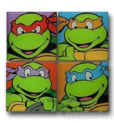Teenage Mutant Ninja Turtles Glass Coaster Set #TMNT