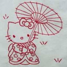 Hello Kitty Redwork Quilt Top - maybe find the pics and get someone to digitize… Embroidery Transfers, Embroidery Patterns, Quilt Patterns, Cross Stitch Embroidery, Hand Embroidery, Red Work Embroidery, Hello Kitty Coloring, Japanese Embroidery, Quilt Top