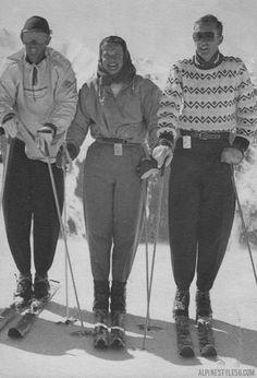 Vintage ski fashion in Aspen, Colorado 1952.