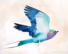 30% Off SALE - Lilac Roller - Bird Art - Colorful Art - Watercolor Painting - 11x14 Print - Digital - Bird in Flight - Nature