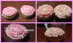 This is how I create two tone flowers icing. Used: Buttercream Icing Food Color Closed Star Piping Bag Tip Rose Petal Pipin. Buttercream Icing, Dessert Recipes, Desserts, Food Coloring, Rose Petals, Hello Everyone, Flowers, Tailgate Desserts, Deserts