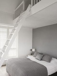 Grey white bedroom with grey feature wall White Bedroom, Dream Bedroom, Mezzanine Bedroom, Mezzanine Loft, Loft Bedrooms, Master Bedrooms, My New Room, Beautiful Bedrooms, Home And Living