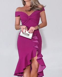 Sum All Chic, Shop Purple Off Shoulder Ruffle Irregular Bodycon Prom Evening Party Maxi Dress online. Bridesmaid Dresses, Prom Dresses, Formal Dresses, Dress Up, Bodycon Dress, Trend Fashion, Classy Outfits, Couture Fashion, Dress To Impress