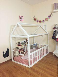 Купить Детская кровать - домик - белый, детская кроватка, детская кровать, кровать-чердак