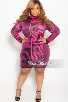 230551edca513 New Plus Size Long Sleeve BodyCon Dress with Back Zipper in Hot Pink and  Black
