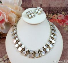 Vtg Mother of Pearl Rhinestone Necklace Clip Earring Set Rhodium Plated FAB…