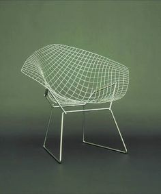 Armchair. 1952 Chrome Plated Steel Wire, Chrome Plated Steel