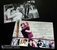Kara's Koncepts Graphic Design • Custom Wedding Invitations • 5x7 Wedding Invitation • 2 Sided Photo Inserts • Purple Wedding Theme