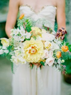 This stunning California wedding shoot is a two for one when it comes to location as it's by the coast in an arboretum. Photos by Daniel Kim Photography. Orchid Bouquet Wedding, Yellow Wedding Flowers, Floral Wedding, Yellow Weddings, Fall Flowers, Yellow Bouquets, Floral Bouquets, Bridal Bouquets, Fall Bouquets
