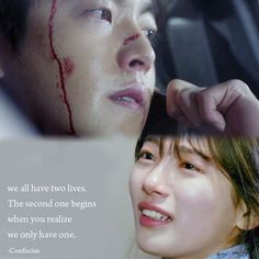 we all have two lives. The second one begins when you realize we only have one. Uncontrollably Fond Kdrama, Korean Drama Quotes, Kim Woo Bin, When You Realize, Best Couple, Second Life, Best Quotes, Two By Two, Words