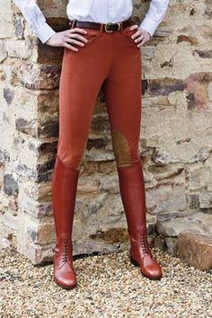 "Rust colored breeches are a bit ""old school"" but I'm really digging them with the brown field boots."