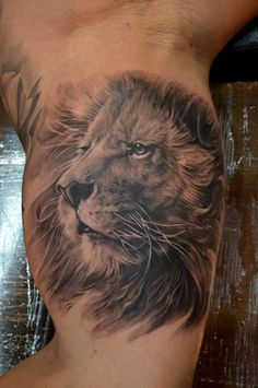 Realistic lion head tattoo on biceps