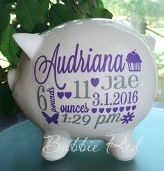 Personalized piggy bank custom piggy bank baby girl piggy bank personalized piggy bank custom piggy bank baby girl piggy bank baby girl cricut pinterest personalized piggy bank piggy banks and babies negle Images