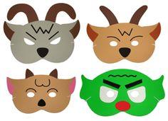 3 billy goats gruff masks for retelling stories for Kindergarten Fairy Tale Friday