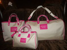 Victorias Secret Weekender Get Away Canvas Bag Luggage Tote Purse Set Pink
