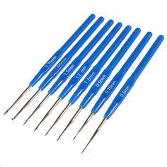 8pcs/Set Meal Crochet Hook Knit Knitting Needle Weave Craft Tip Yarn Blue Plastic Sewing Tools 0.6-1.75mm