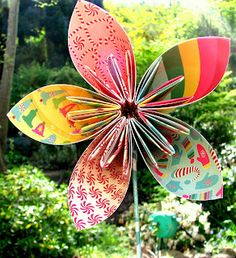 PaperVine: folded paper flowers w/tutorial - these would be so cute for garden-inspired girly-girl birthday