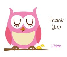 Adorable Pink Owl Notecards Thank You Cards for Kids - Personalized