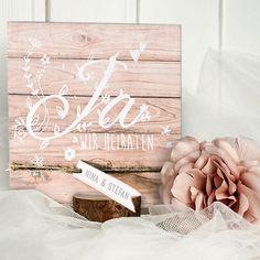 """Einladungskarte Hochzeit """"Molly"""" in Holzoptik Aufklappkarte"""