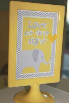 Yellow & Gray Chevron Baby Shower Ideas (Elephant Theme) - Crafty Morning