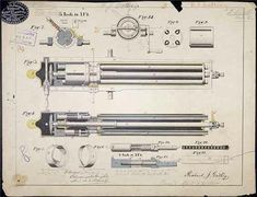 The Gatling Gun Patent Drawing  By Richard Jordan Gatling, 1865  Drawing courtesy of the National Archives and Records Administration, Records of the Patent and Trademark Office. ^cs