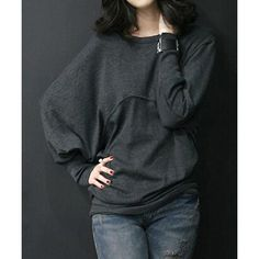 Casual Round Neck Long Batwing Sleeve Solid Color Loose-Fitting Women's T-Shirt