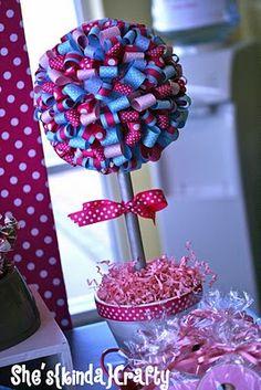 looped ribbon topiary. Love Love Love!!!