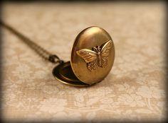 Brass Butterfly Locket Necklace by saffronandsaege on Etsy