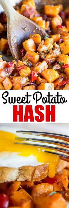Simple ingredients cooked in delicious ways: That's what this Sweet Potato Hash is all about.Your new favorite breakfast brunch and dinner! Sweet Potato Hash, Sweet Potato Recipes, Bacon Recipes, Brunch Recipes, Breakfast Recipes, Cooking Recipes, Healthy Recipes, Brunch Food, Flour Recipes