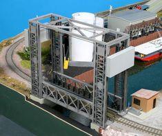 Lift Bridge and Grain Elevator   Riverport Theme HO Small Model Railroad Layout   Gateway NMRA
