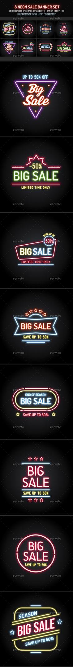 Neon Sale Banners Set — Photoshop PSD #web • Download ➝ https://graphicriver.net/item/neon-sale-banners-set/19496999?ref=pxcr