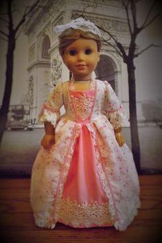 Summer ballgown for American Girl Felicity and Elizabeth