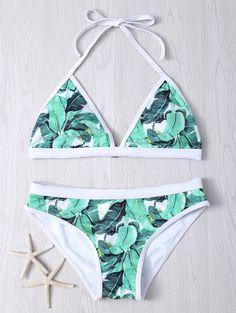 Swimwear & Beachwear for Women : Women's Halter Leaves Print Bikini Set… Sexy Bikini, Black Bikini Tops, Bikini Set, Halter Bikini, Halter Neck, Bikini Swimwear, Bikini For Women, Lingerie, Cute Swimsuits