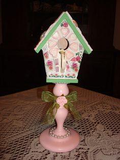 Mosaic Art  Broken China Pink and Green Birdhouse by KaydeeMosaics, $40.00