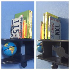 Just about the quickest and easiest (and free!!) project ever. License plate book ends for decor on top of the airplane shelf in my boys' travel theme bedroom. I literally just bent them into an L shape with my hands. #boysbedroom #kidsroom #diy #makingourhouseourown #updates #diyhome #home #homedecor #diyhomedecor