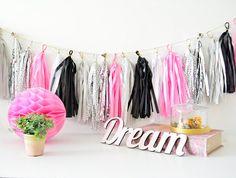 tassel garland  Paris nights  paris themed party by TouchOMagic
