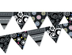 Black White Pennant Border Classroom Borders, Classroom Displays, Black And White, Prints, Blanco Y Negro, Black N White, Printmaking