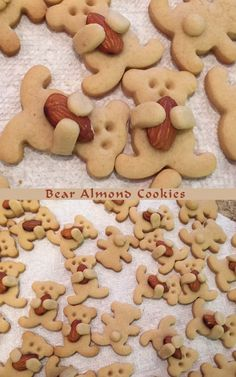 Bear Almond Cookies - I used my favorite cut-out cookie recipe and a small bear cookies cutter - I got the idea from  http://www.boredpanda.com/cute-hugging-bear-cookies-maa-tamagosan/