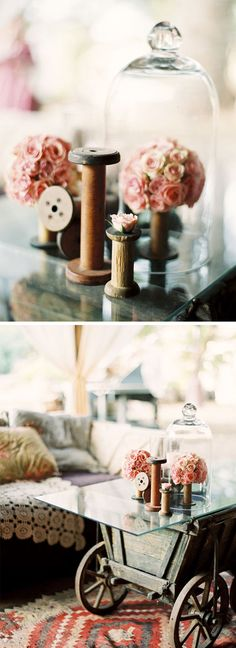 old wooden spools+
