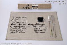 Vintage linen postcard placemat by textile designer Lucie Pritchard