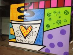 Resultado de imagen para New Romero Britto Martini Cocktail Juego De 6 Pop Art, Hippie Designs, Painted Wooden Boxes, Arte Country, Funky Art, Arte Pop, Colorful Paintings, Mosaic Patterns, Scrapbooking